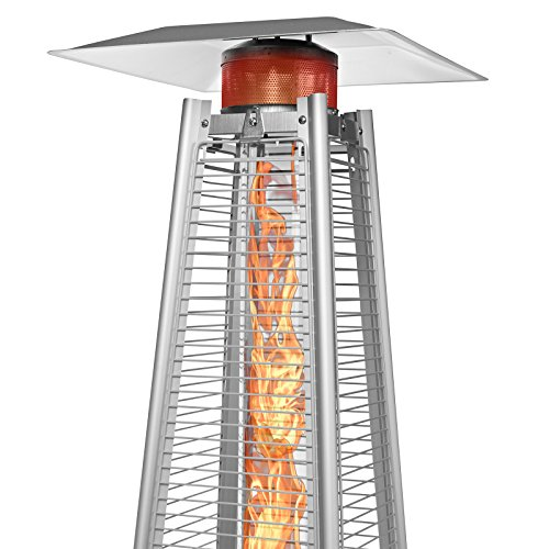 Thermo Tiki Deluxe Propane Outdoor Patio Heater - Pyramid Style w/Dancing Flame (Floor Standing) - Stainless Steel