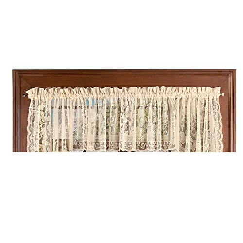 Collections Etc Floral Lace Cafe Curtain Window Valance, Windsor - with Rod Pocket Top, Natural from Collections Etc