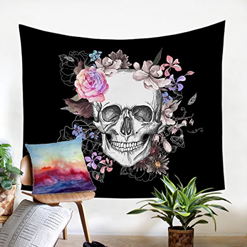 Sleepwish Floral Skull Tapestry Skull Roses Tapestries Red Black and White Beach Towel Wall Hanging Art Room Decorations ()