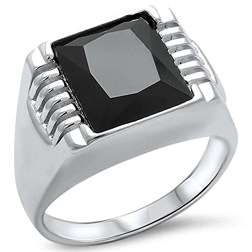 Men's Black Onyx .925 Sterling Silver Ring Sizes 9-14 (14)
