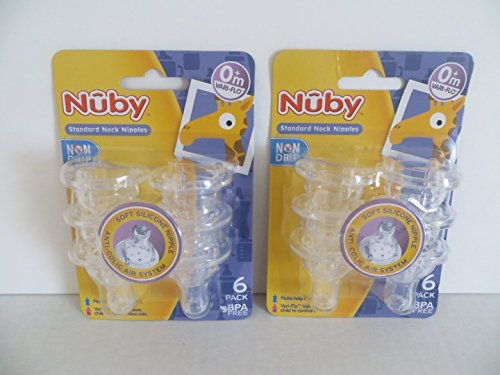 12 Nuby Non Drip Nipples - 2 Sets of 6 Packs (12 Nipples) (Standard Neck 3 Stage)