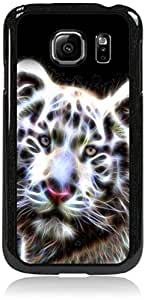 Fractal White Tiger- Hard Plastic Case in Black- for the Samsung Galaxy s6 EDGE Only