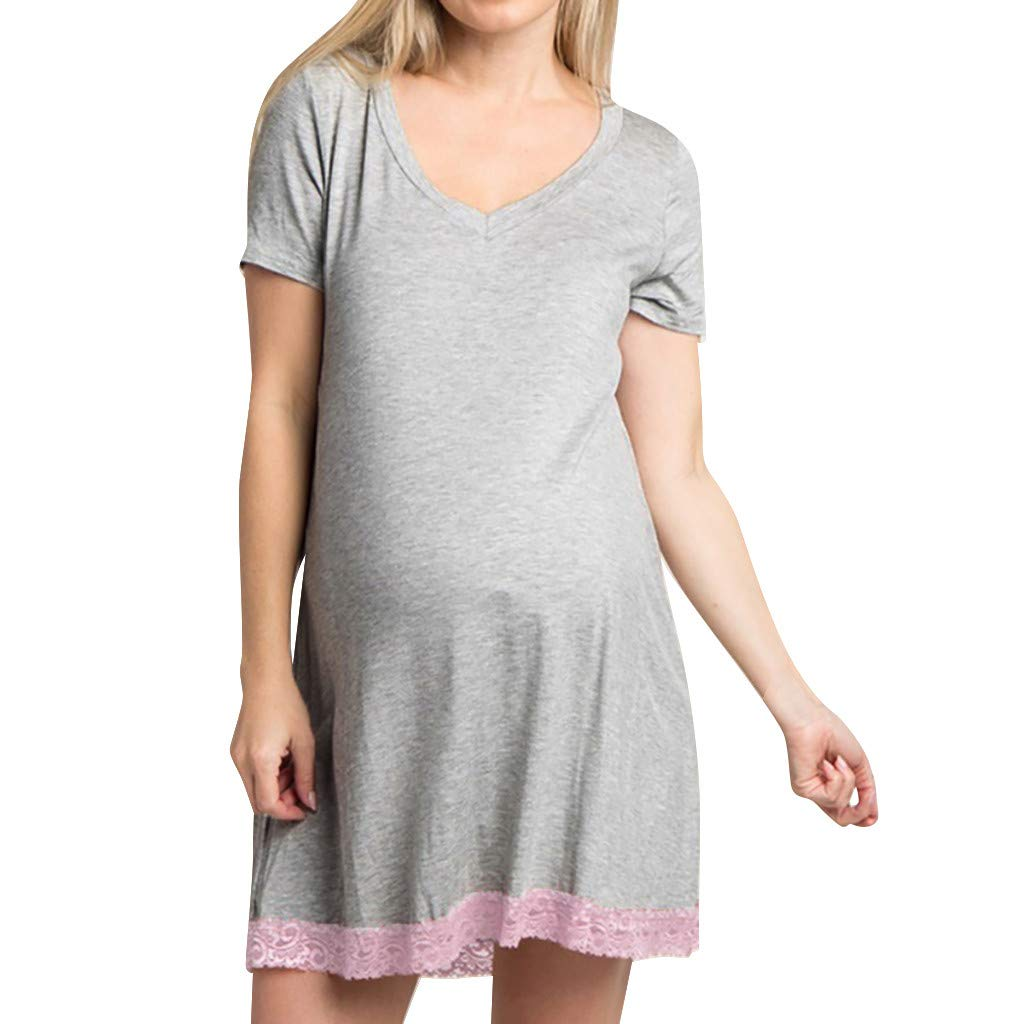 c085e4ede58 ✓ Hypothesis_X ☎ Casual Maternity Dresses for Women, Pregnants Nursing Dress  Lace Dress for Pregnant Pajamas Shirt Dress at Amazon Women's Clothing  store: