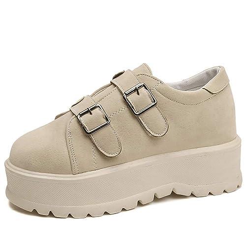 Zapatos Planos Mujer Mocasines de otoño Zapatos de Gamuza de Cuero Zapatos Casuales Resbalón en Pisos Mocasines Creepers: Amazon.es: Zapatos y complementos