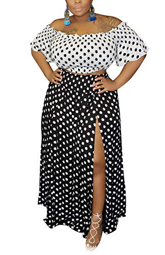 Women's Sexy Polka Dots 2 Piece Skirt Sets Off Shoulder Ruffle Sleeve Crop Tops and High Split Maxi Skirt Plus Size Black