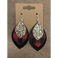 Red Black & Gold Plaid Holiday Earrings