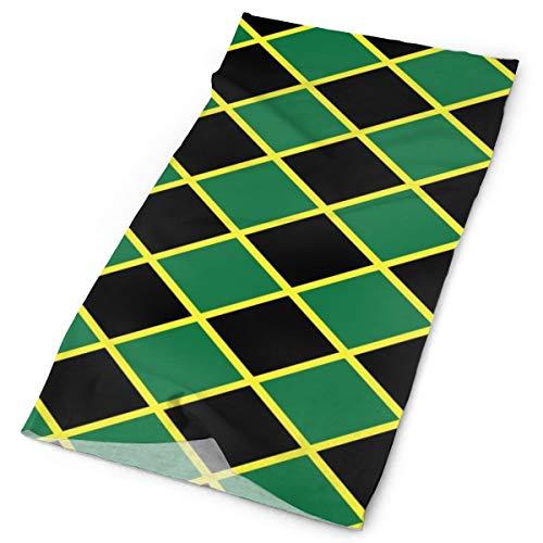 Yongcoler Convenient Jamaican Flag Stripe Caribbean Island Design Neck Gaiter Headband Sport Headwear Elastic Face Mask Bandana Scarf Sun Resistance Balaclava for Fishing Running Hiking Camping]()