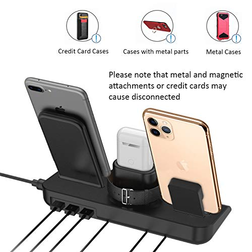 SimpJoy Wireless Charger,Wireless Charger Stand 4 in 1 Charging Stand Dock Compatible with Apple Watch, AirPods and Fast Wireless Charging Stand for iPhone 11/11 Pro/X/XS/XR/Xs Max/8/8 P…