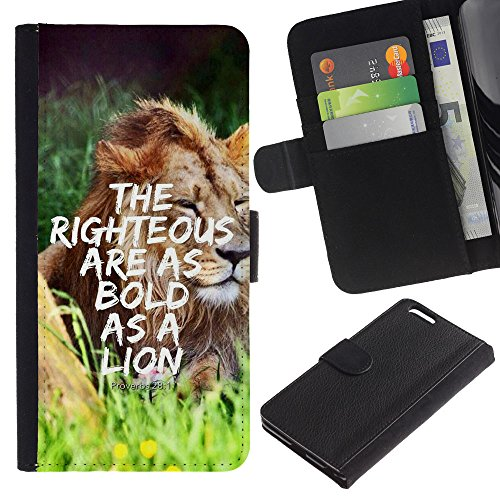 EuroCase - Apple Iphone 6 PLUS 5.5 - PROVERB 28:1 - THE RIGHTEOUS ARE AS BOLD AS A LION - Cuir PU Coverture Shell Armure Coque Coq Cas Etui Housse Case Cover