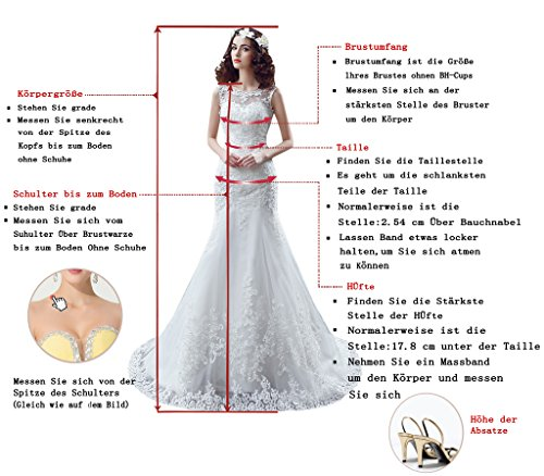 Promgirl House Damen Attraktive Steine Etui Mermaid Abendkleider Cocktail Party Ballkleider Lang mit Aermel