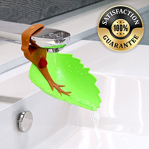 Eutuxia Water Spout & Faucet Extender for Kitchen and Bathroom Sinks. Perfect for Babies, Toddlers, Kids. Safe, Fun, and Easy Hand Washing Solution for Children. Unique & Cute Leaf Design. [Brown]