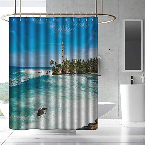 (Lighthouse Polyester Shower Curtain Tropical Island Lighthouse with Palm Trees Rocks Wavy Seaside Beach Ocean Fabric Shower Curtain Bathroom W48 x L84 Blue White Green)