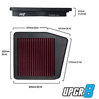 Upgr8 U8701-1312 Hd PRO OEM Replacement High Performance Dry Drop-in Panel Air Filter Red: Automotive