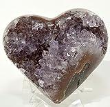 Large 4'' 1.2lb Amethyst Geode Heart Natural Purple Sparkling Druzy Mineral Cluster Quartz Crystal Gemstone Love Heart - Brazil + Acrylic Display Stand