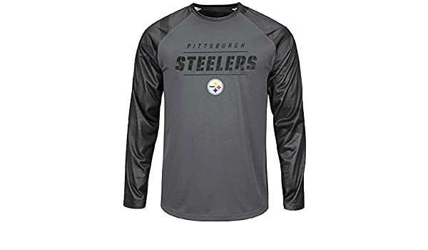 5d17aba75 Amazon.com   Game Time Pittsburgh Steelers Mens Grey Synthetic League Rival  Long Sleeve T Shirt (Large)   Sports   Outdoors