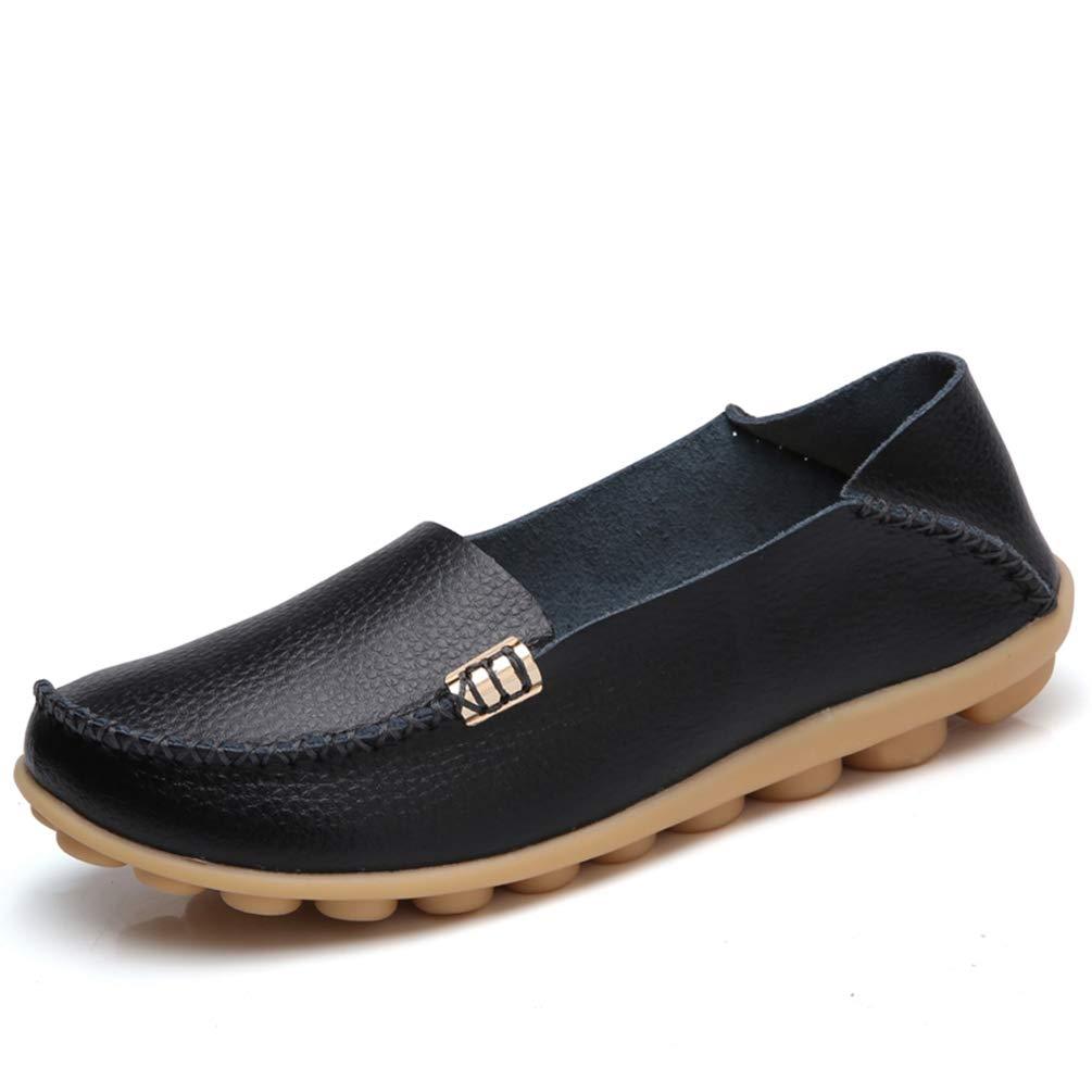 JOYBI Women Fashion Round Toe Loafers Leather Wild Comfort Shallow Slip On Soft Casual Flat Ballet Shoes