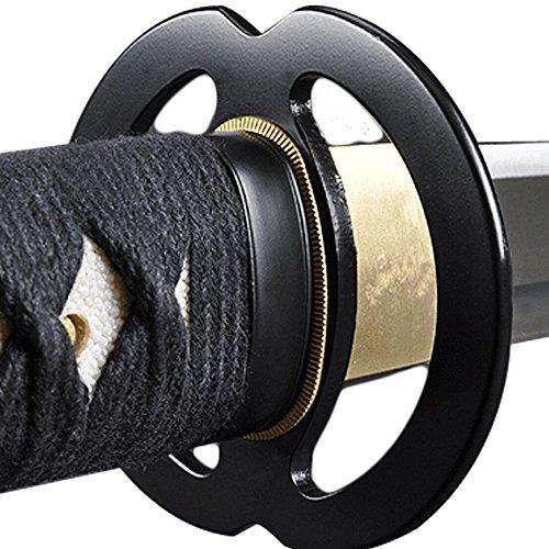 Handmade Sword – Stainless Steel Unsharpened Iaido Training Wakizashi Sword, Handmade, Full Tang, Musashi Tsuba, Black Scabbard