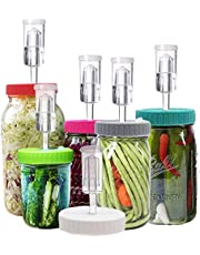 Klemon Fermentation Lids, 6 Set Fermentation Kit for Wide Mouth Jars, Plastic Fermenting Lids with 6 Airlocks, 6 Silicone Grommets, 6 Silicone Rings(Jars Not Included)