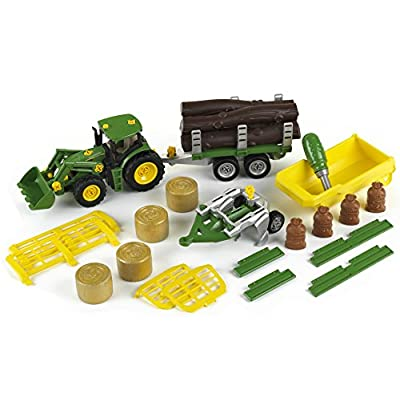 Theo Klein 3907 Johne Deere Tractor with Tipping Dumper, Transporter, Wood and Hay Cart Trailer and Plough, Toy, Multi-Colored: Toys & Games