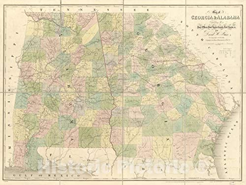 Historic 1839 Map | Map of Georgia & Alabama exhibiting The Post Offices, Post Roads, canals, Rail Roads & c; by David H. Burr (Late Topographer to The Post Office) 44in x 33in