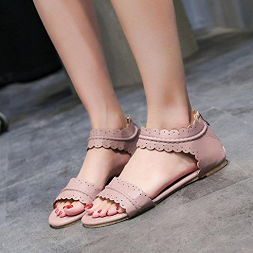 Muium Women Fashion Sandals, Ladies Solid Color Ruffles Flat Sandals Round Toe Zipper Roma Shoes Purple