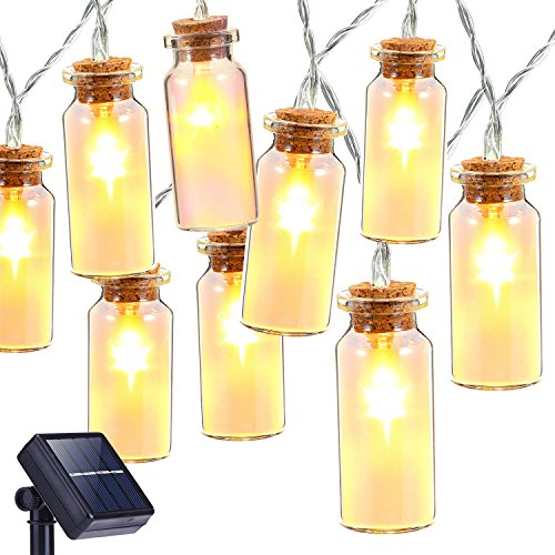 Solar String Lights, Oak Leaf 30 LEDs Waterproof Glass Jar LED Fairy Lights for Outdoor Garden Backyard Wedding Indoor Party, Warm White,9.8 (Mini Solar Lights)