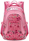 Tinksky Flowers Pattern Backpacks for Girls Elementary School Students Book Bag Pink