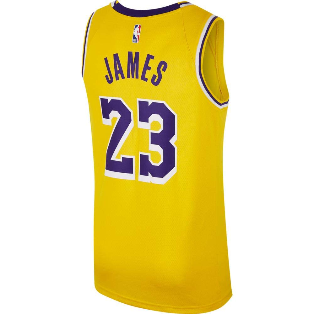 finest selection dcd74 3eed2 Nike Mens Los Angeles Lakers Lebron James 2018-19 NBA Swingman Gold Jersey  100% Authentic