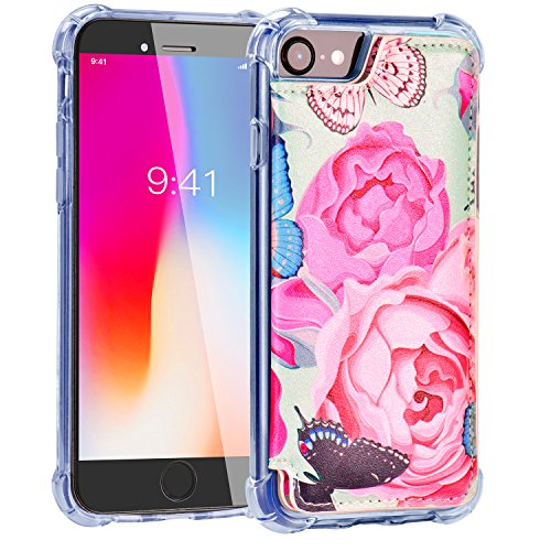 iPhone 8 Wallet Case,iPhone 7 Case with Card Holder,MISSCASE Premium Leather Protective Case with Card Holder,Double Magnetic Clasp,Floral Flower Phone Case for iPhone 8/7 / 6 4.7 inch Butterfly