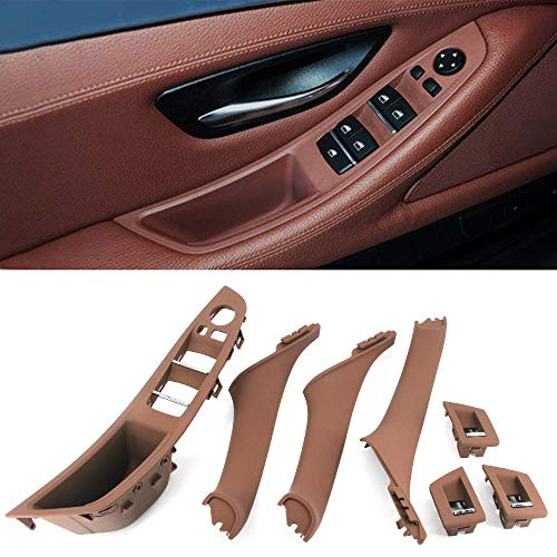 FEXON Driver Side Door Handle for BMW 5 Series,Window Switch Armrest Panel,Inner Pull Handle Trim Panel Cover Kits for 2010-2016 BMW 5 Series 520 523 525 528 530 535 F10 F11 Red Brown