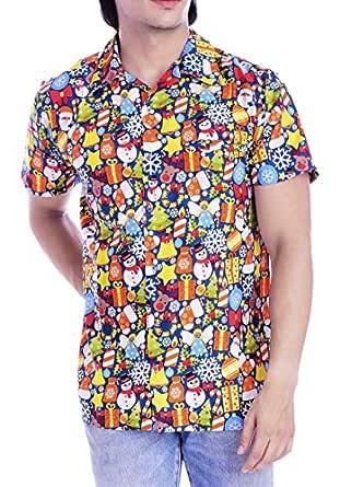 Virgin Crafts Hawaiian Christmas Shirts Men Santa Claus Beach Holiday Party Casual Shirt Blue