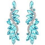 #4: BriLove Women's Wedding Bridal Crystal Multi Marquise Filigree Flower Chandelier Clip-On Dangle Earrings