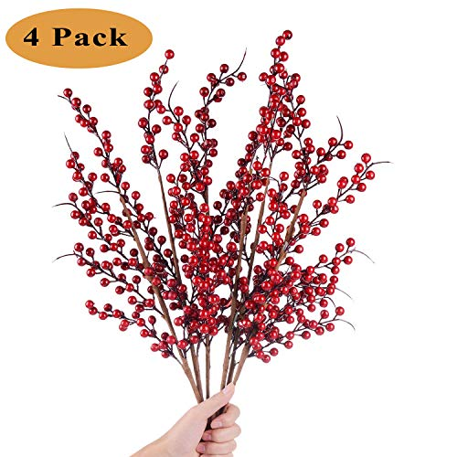 TINGOR 4 Pcs Artificial Red Berry Stems for Christmas Tree Decorations, Crafts, Holiday and Home Decor, 24.9 Inches Burgundy Berry Floral (Tree Crafts Decoration Christmas)