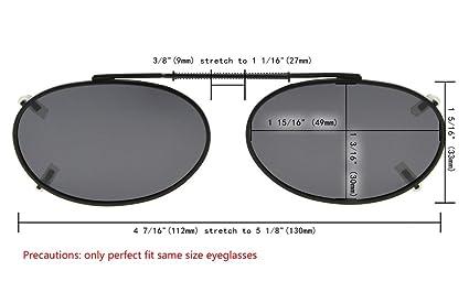 49d00ce974fc Amazon.com  Eyekepper Metal Oval Frame Rim Polarized Lens Clip On Sunglasses  1 15 16