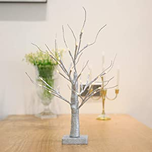 Leruckdite 1.5FT 27LT Warm White LED Birch Tree Light Tabletop Bonsai Tree Light Jewelry Holder Decor for Home Party Wedding Holiday Silver Glitter