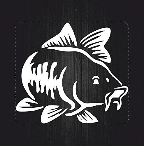 Autocollant sticker macbook laptop voiture moto pecheur peche poisson blanc