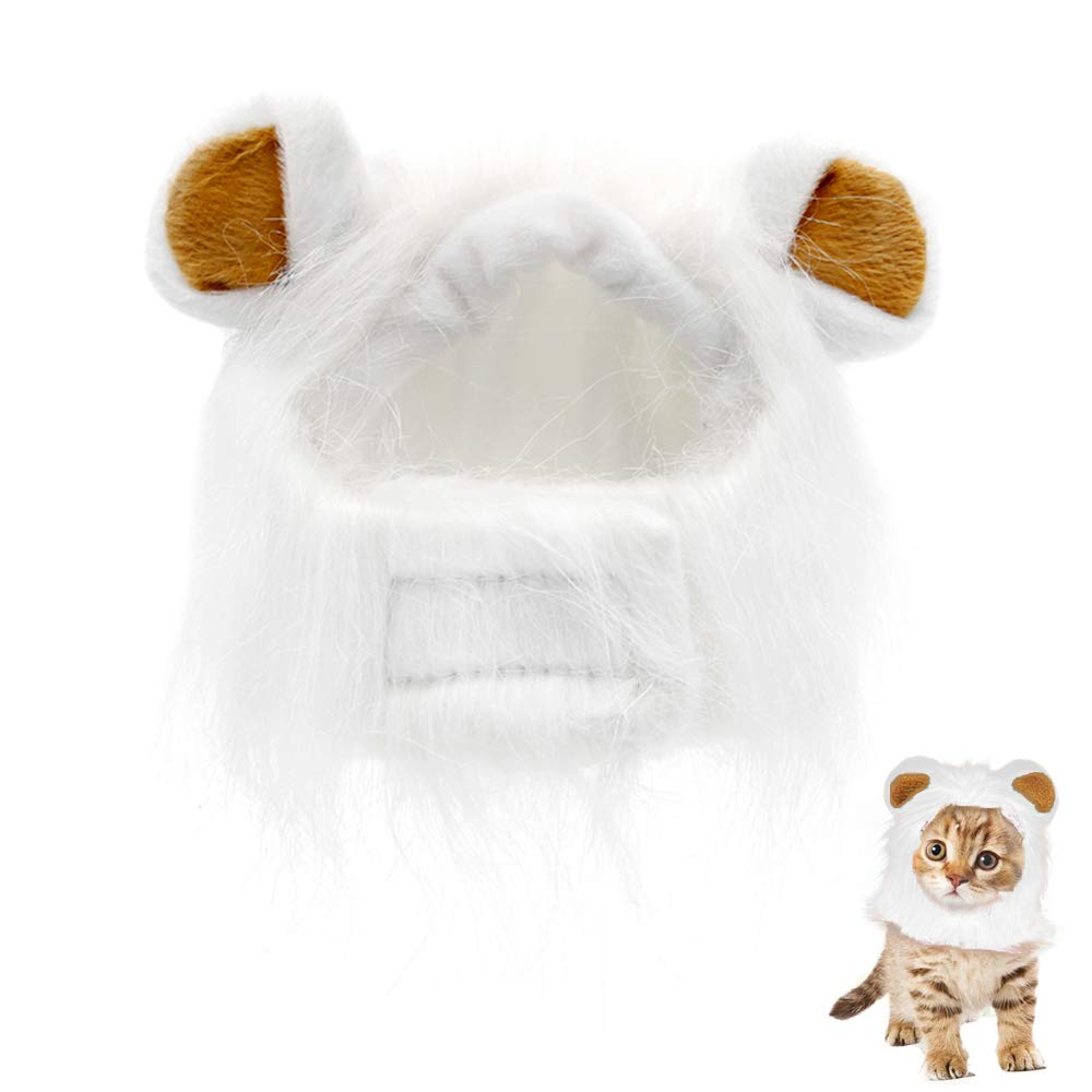 Pet Lion Mane Wig Pet Cat Wig Lion Hair Headgear Costume Cosplay Fancy Dress Up with Ears for Halloween Christmas Festival Party Activity Paul Harden