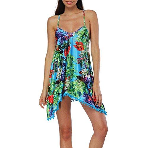 Sexy Femmes Sling Robe DéContractéE Fille Boho Ete Manches Dress Sans Femme Robe Bleu Summer Plage Longue Print Fathoit 1pfx6qw