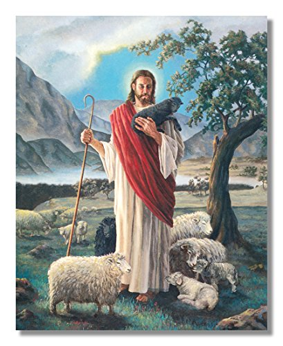 Jesus Christ Shepherd with Lambs Religious Wall Picture 8x10 Art Print Photo Jesus Christ