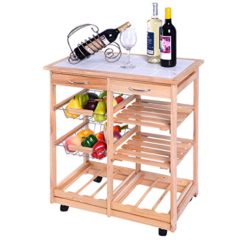 Giantex Rolling Wood Kitchen Trolley Cart Dining Storage Drawers Stand Countertop by Giantex