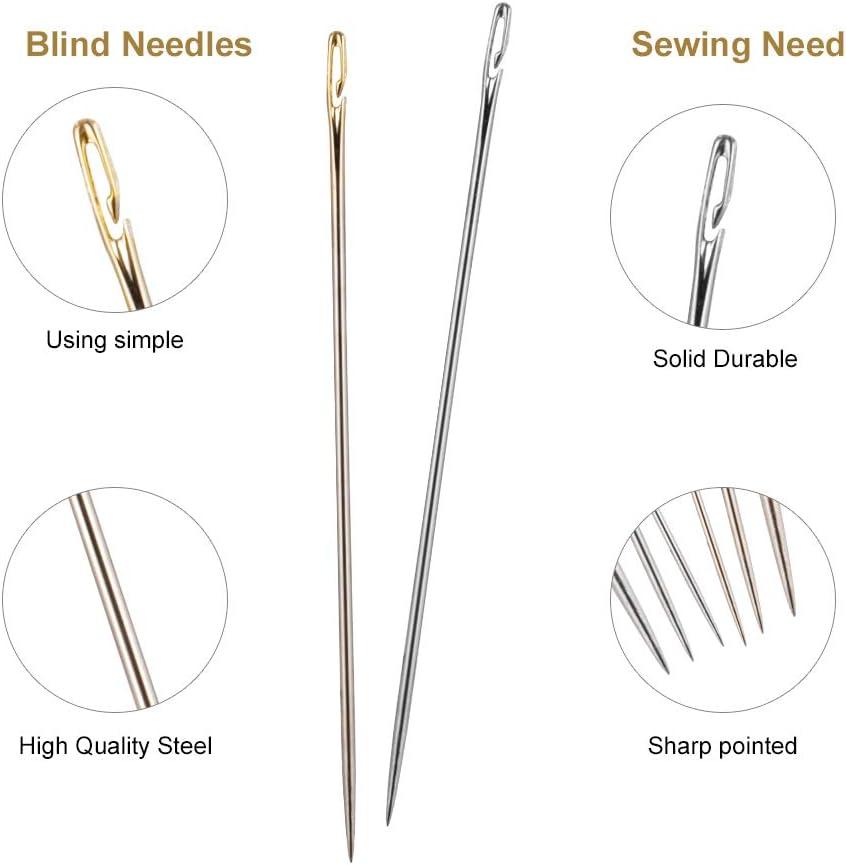 angelikashalala 24 Pcs Hand Sewing Needles Self Threading Needles 3 Sizes Blind Needles with a Clear Storage Tube