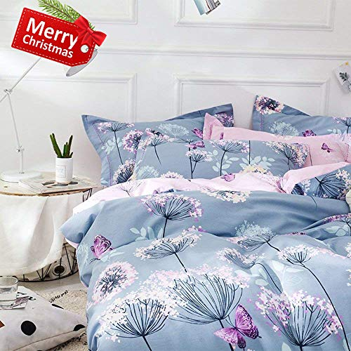 VClife Chic Queen Bedding Sets Floral Branches Butterfly Printed Duvet Comforter Cover Sets Girl Teens Cotton Pink Blue Bedding Collection, Soft Hypoallergenic, Lightweight, Breathable, Durable, Queen (Purple Butterfly Queen Bedding)