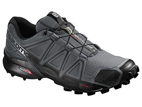 Salomon Men's Speedcross 4 Trail Running Shoes Dark Cloud/Black/Pearl Grey 10 & Spare Quicklace Bundle