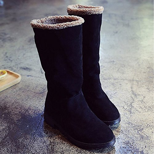 ZHZNVX Calf Nubuck Chunky Toe Heel Winter Fashion HSXZ Army Women's Mid Fall Comfort Green leather Casual PU for Shoes Gray Grey Round Boots Boots Boots qTwtTAxr