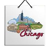 Body-Soul-n-Spirit Chicago wills tower millenium park cloud gate field museum history tile decor souvenir sign ceramic wall plaque - fabulous city gift for home USA