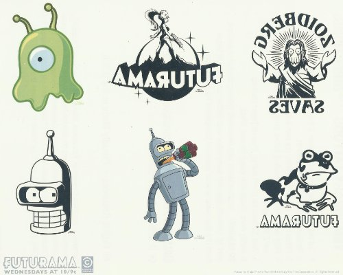 futurama-temporary-tattoos-set-of-6-on-a-8-x-10-sheet-new