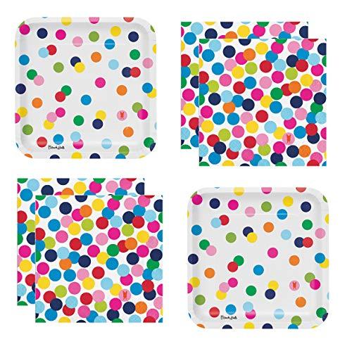 Rainbow Party Supplies Polka Dots Paper Plates and Napkins Serves 20 -
