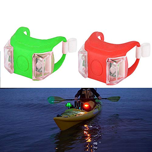 SUNNIER 2 Pack Kayak Navigation Lights [Waterproof + Battery Powered], Boat Bow Stern Safety Lights [Red + Green LED] for Night Boating Kayaking Fishing Scooter - Light Kit Night Scooter
