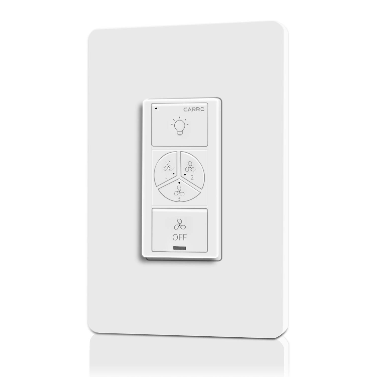 Smart Ceiling Fans Controller and Dimmer Light Wall Switch, Trifecte 1-GANG Light Switch & 3 Speed Fan Control, Compatible with Alexa/Google Home/Siri, Remote Control with App/Wi-Fi
