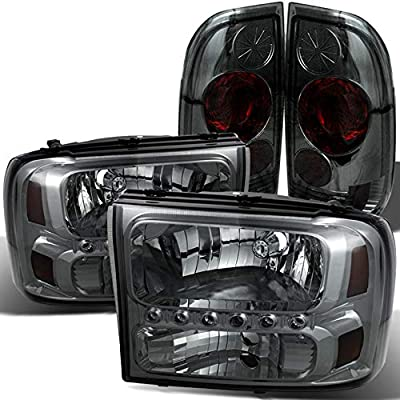 BUMPER LED SIGNAL DRL FORD 1999-2004 F250 F350 SUPERDUTY BLACK HEADLIGHTS LAMP